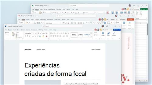 Word, Excel e PowerPoint apresentados com atualizações visuais no friso e cantos arredondados para corresponder à interface de utilizador do Windows 11.