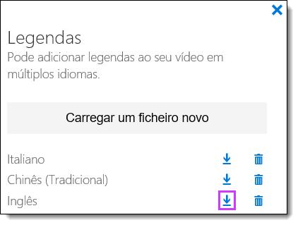Office 365 Transferir o vídeo legendas