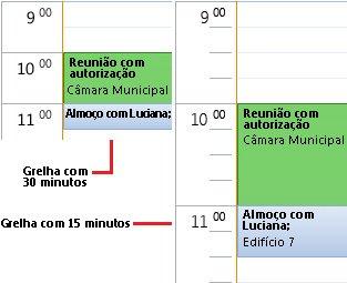 Exemplo de grelha de horas do calendário de 30 e 15 minutos