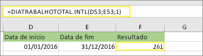 =NETWORKDAYS. INTL (D53,E53,1) e resultado: 261