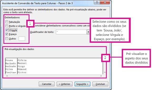 Caixa de diálogo Tabela de Dados