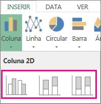 Tipos de gráficos de colunas