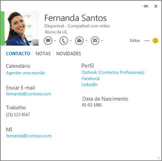Exemplo de um cartão de contacto que pode abrir ao clicar na fotografia de um autor de comentário no Word.