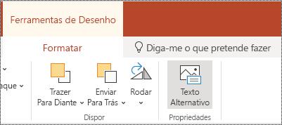 Botão texto alternativo no Ribbon para uma forma e vídeo no PowerPoint online.