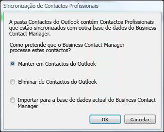 caixa de diálogo Sincronização de contactos profissionais