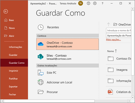 Guardar o PowerPoint no OneDrive