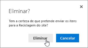 Caixa de confirmação eliminar item com a caixa de confirmação Eliminar realçada
