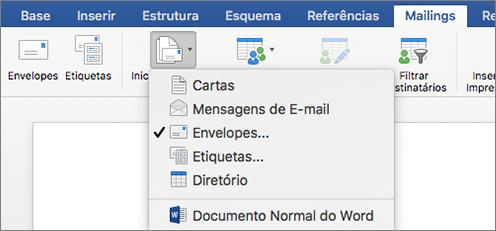 No separador Correio, selecione a opção Envelopes na lista Iniciar Impressão em Série