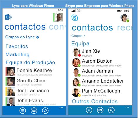Comparação lado a lado do Lync e do Skype para Empresas para Windows Phone