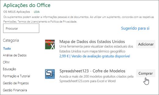 Captura de tela a mostrar a página de suplementos do Office onde pode selecionar ou procurar um suplemento para o Excel.