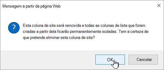 Confirmar a eliminação ao clicar em OK