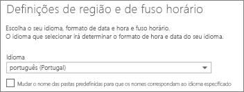 Definir o idioma do Outlook Web App e decidir se pretende mudar o nome das pastas