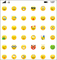 O Skype para Empresas tem os mesmos ícones expressivos da versão do consumidor do Skype