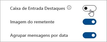 Uma captura de écran do botão de alternar a Caixa de correio focalizada nas configurações rápidas