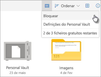 Captura de ecrã de proteção do Personal Vault no OneDrive