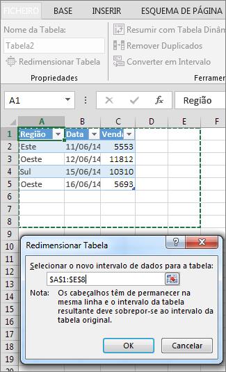 Redimensionar Tabela