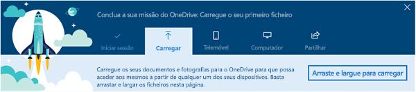 captura de ecrã da OneDrive instruções visita guiada que aparece quando utilizar primeiro o OneDrive para empresas no Office 365
