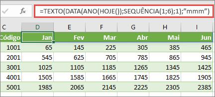 Worsksheet do Excel com a função sequência