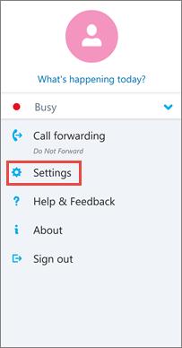 Ecrã de opções no Skype para Empresas para Android
