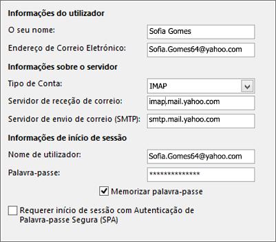 Introduzir as suas informações de servidor do Yahoo