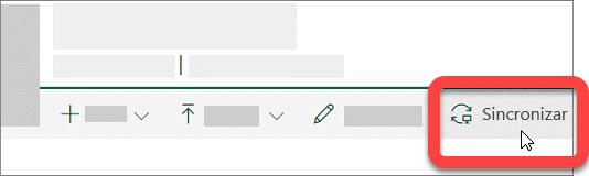 Captura de ecrã a mostrar o botão Sincronizar numa biblioteca do SharePoint.
