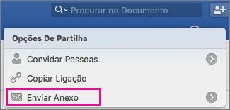 Para enviar o seu documento como um anexo a uma mensagem de e-mail, clique em Enviar Anexo.