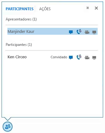 captura de ecrã dos ícones ao lado do nome do participante para indicar a disponibilidade das funcionalidade de MI, áudio, vídeo e partilha