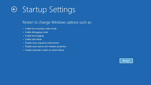 Ecrã Definições de Arranque no Ambiente de Recuperação do Windows.