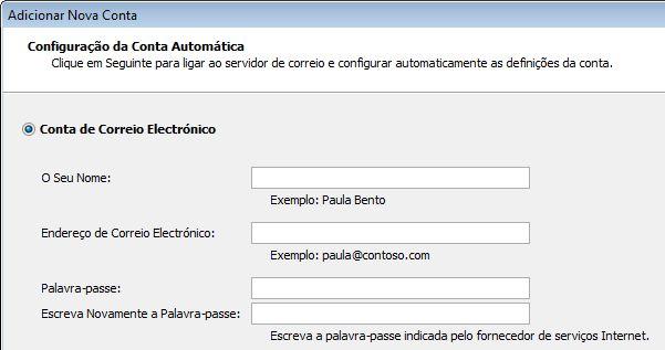 Opção adicionar nome e endereço de e-mail do Outlook 2010