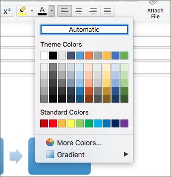 Captura de ecrã a mostrar a definição de cor Automática para os tipos de letra
