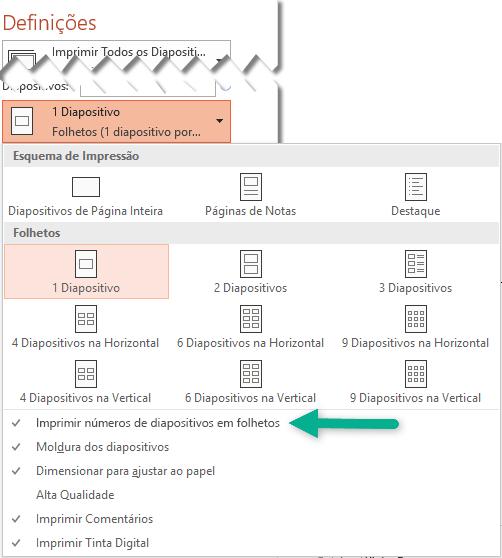 Imprimir Números de Diapositivos em Folhetos.