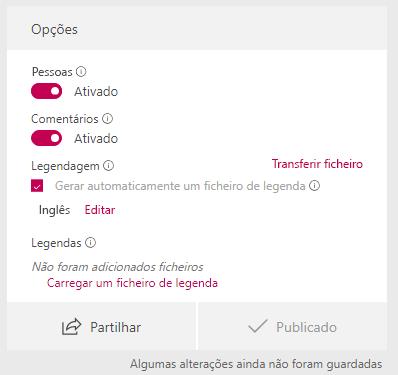 Na janela de opções, selecione gerar automaticamente um ficheiro de legenda