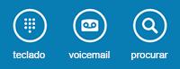 Utilize os ícones na parte inferior do ecrã para apresentar o teclado de marcação, verificar o voicemail ou procurar contactos
