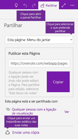 Captura de ecrã a mostrar o envio de uma cópia das notas do OneNote