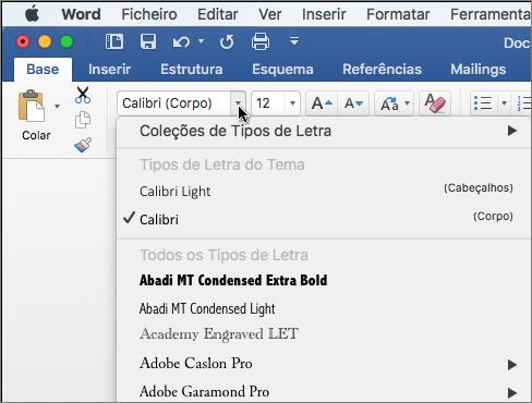 Clique no tipo de letra pendente no Word para alterar o tipo de letra do texto.