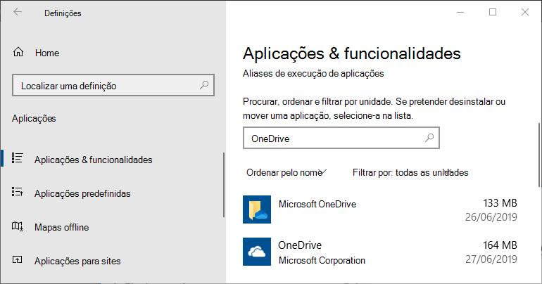 OneDrive em Definições de Aplicações do Windows