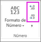 aumentar ou diminuir casas decimais na formatação de números