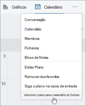 Captura de tela do menu do Planner com a seleção Adicionar plano ao calendário do Outlook selecionada.