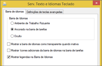 Serviços de Texto e Idiomas de Entrada do Office 2016 no Windows 8