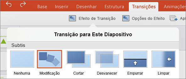 Mostra a transição Modificar no menu Transições no PowerPoint 2016 para iPad