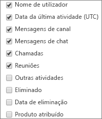 Relatório de atividade do utilizador no Teams – selecionar colunas