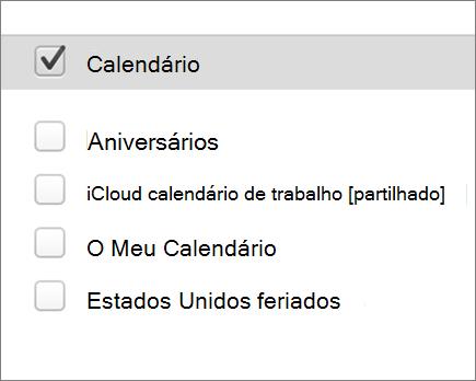Calendário do iCloud no Outlook 2016 para Mac