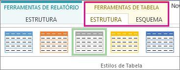 Grupo Estilos de Tabela no separador Estrutura das Ferramentas de Tabela