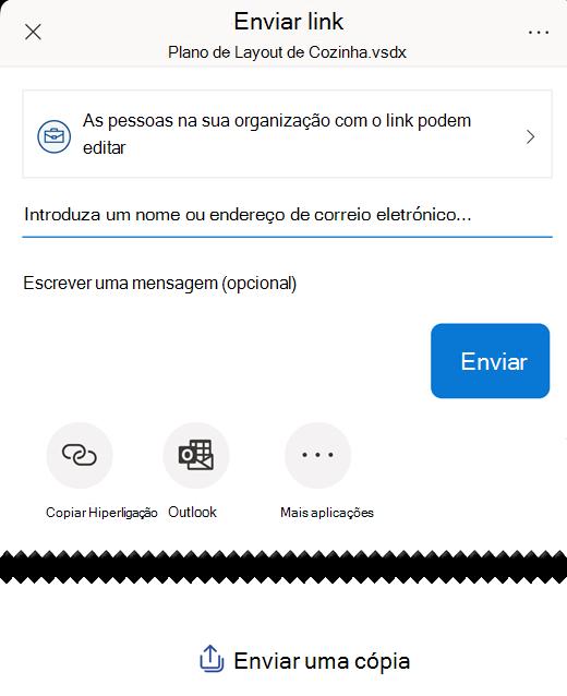 """Utilize as opções em """"Enviar link"""" para partilhar um diagrama com outras pessoas."""