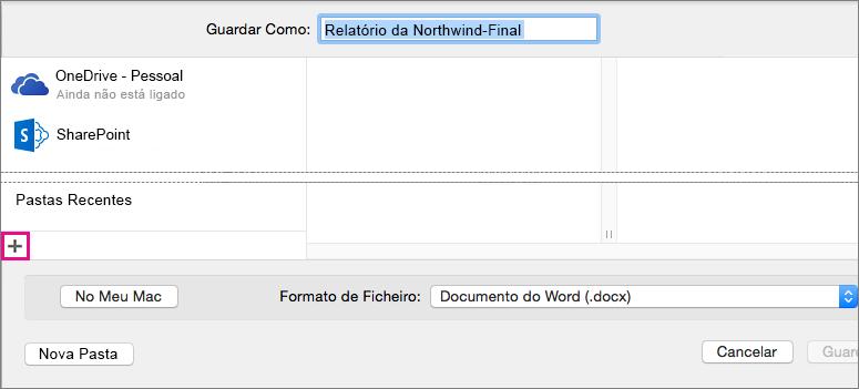 Para adicionar um serviço online, clique no sinal de adição na parte inferior da coluna esquerda na caixa de diálogo Guardar Como.