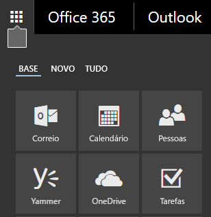 O iniciador de aplicações do Office 365 a apresentar os mosaicos Correio, Calendário, Pessoas, Yammer e OneDrive