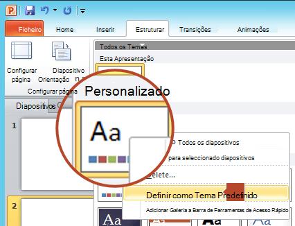 """Clique com o botão direito do rato no novo tema apresentado no cabeçalho """"Personalizada"""" e, em seguida, selecione """"Definir como Tema Predefinido""""."""