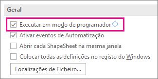 Caixa de verificação Executar no modo de programação