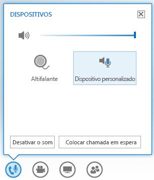 captura de ecrã das opções que são apresentadas ao pairar sobre o botão de áudio