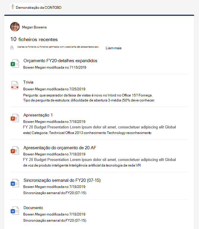 Os recentes detalhes dos ficheiros mostram vários ficheiros.